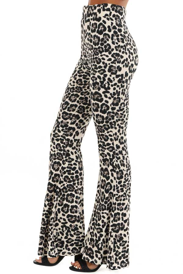 Cream Leopard Print Super Soft Stretchy Bell Bottom Pants side view