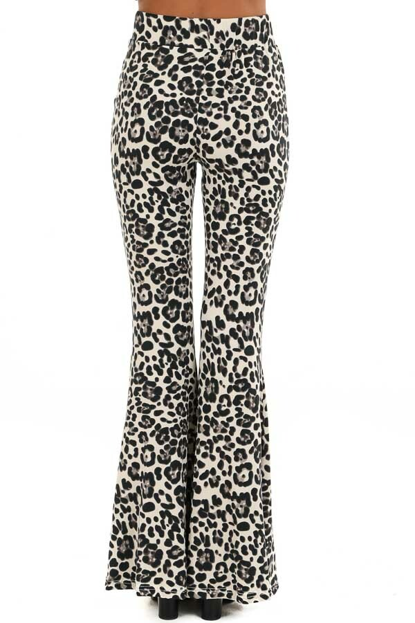 Cream Leopard Print Super Soft Stretchy Bell Bottom Pants back view