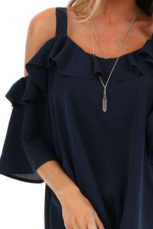 Navy Cold Shoulder Top with 3/4 Length Sleeves and Ruffles detail