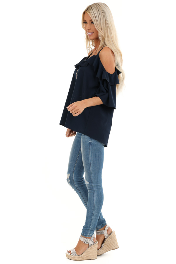 Navy Cold Shoulder Top with 3/4 Length Sleeves and Ruffles side full body