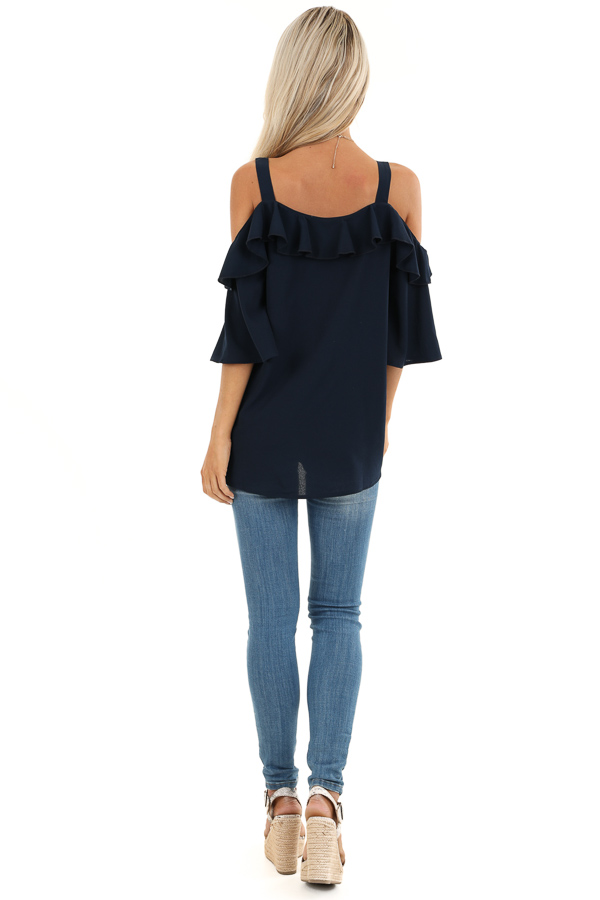 Navy Cold Shoulder Top with 3/4 Length Sleeves and Ruffles back full body