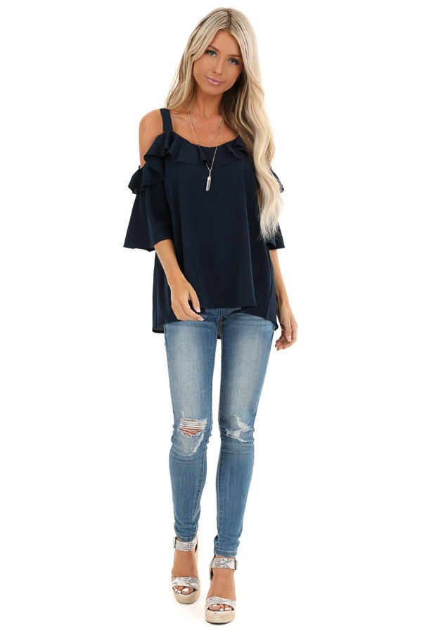 Navy Cold Shoulder Top with 3/4 Length Sleeves and Ruffles front full body