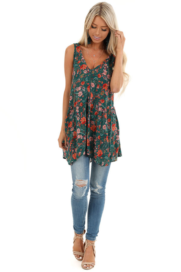 Hunter Green Floral Tank Top with Sheer Crocheted Details front full body