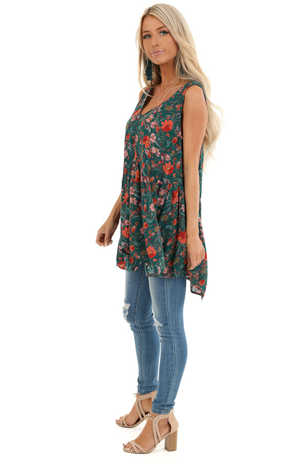 Hunter Green Floral Tank Top with Sheer Crocheted Details side full body