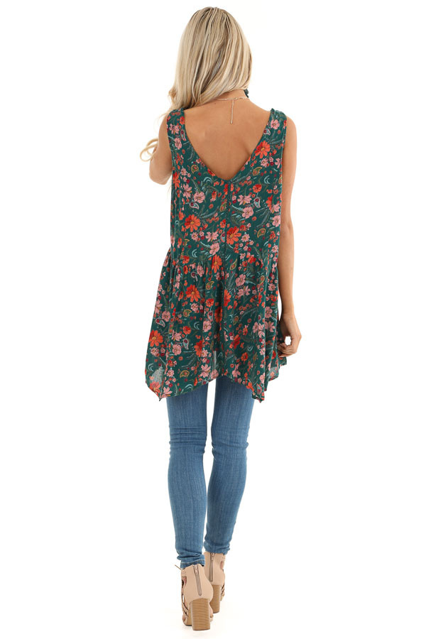 Hunter Green Floral Tank Top with Sheer Crocheted Details back full body