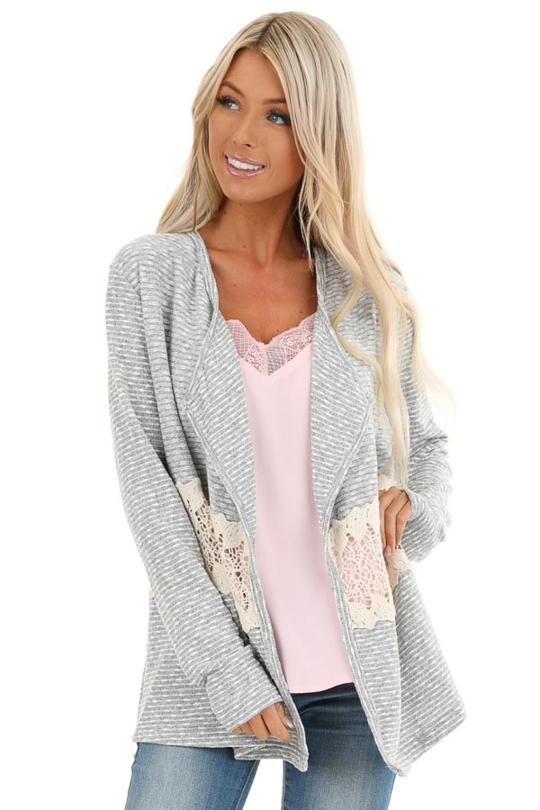 Heather Grey Striped Cardigan with Sheer Crochet Panel front close up