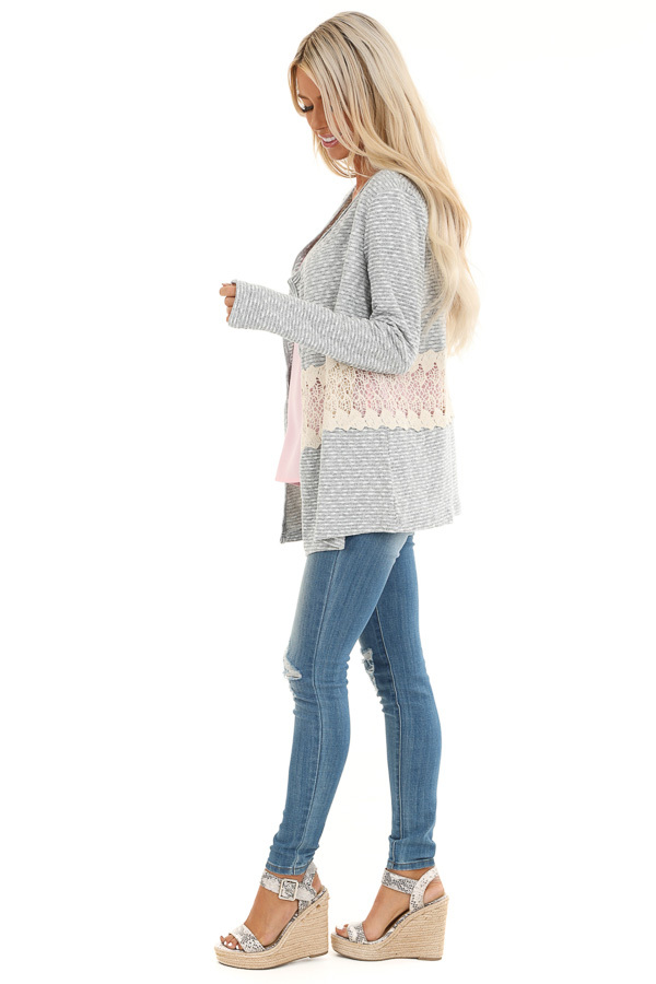 Heather Grey Striped Cardigan with Sheer Crochet Panel side full body