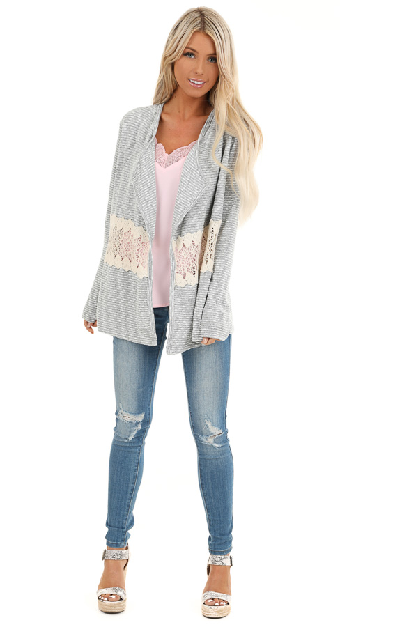 Heather Grey Striped Cardigan with Sheer Crochet Panel front full body