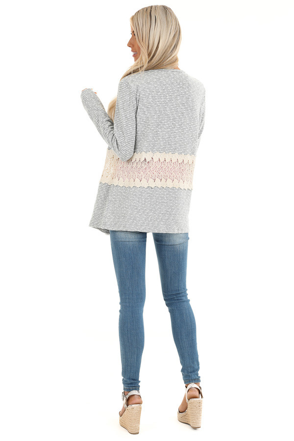 Heather Grey Striped Cardigan with Sheer Crochet Panel back full body