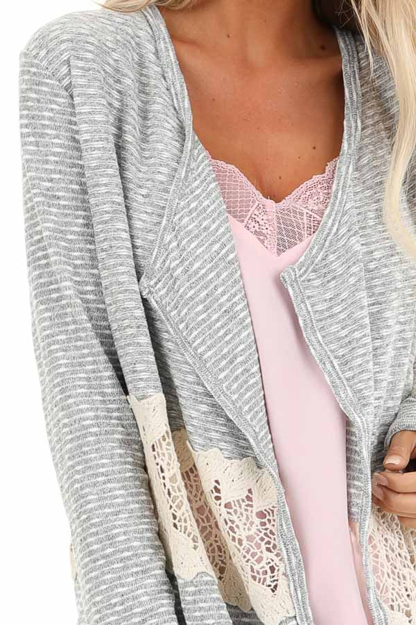 Heather Grey Striped Cardigan with Sheer Crochet Panel detail