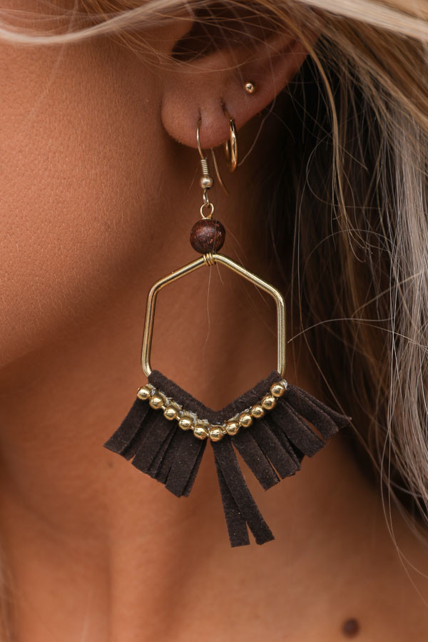 Gold Hexagon Earrings with Deep Brown Faux Suede Tassels