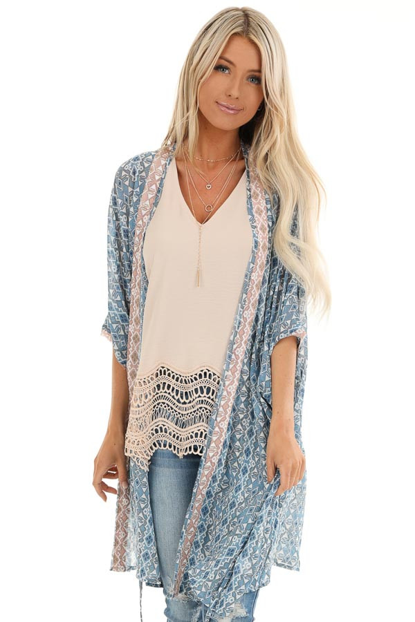 Dusty Blue and Antique Salmon Dolman Sleeve Kimono with Tie front close up