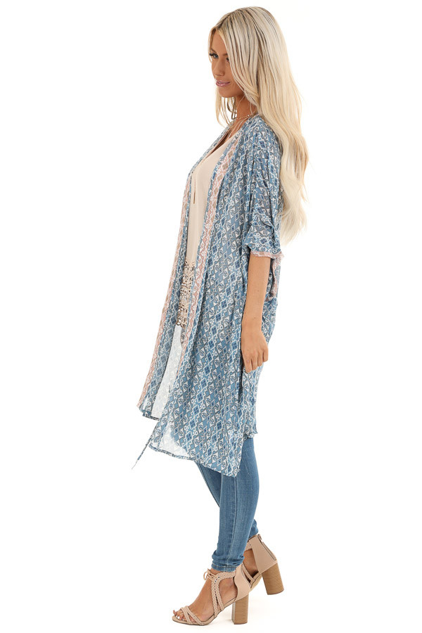 Dusty Blue and Antique Salmon Dolman Sleeve Kimono with Tie side full body