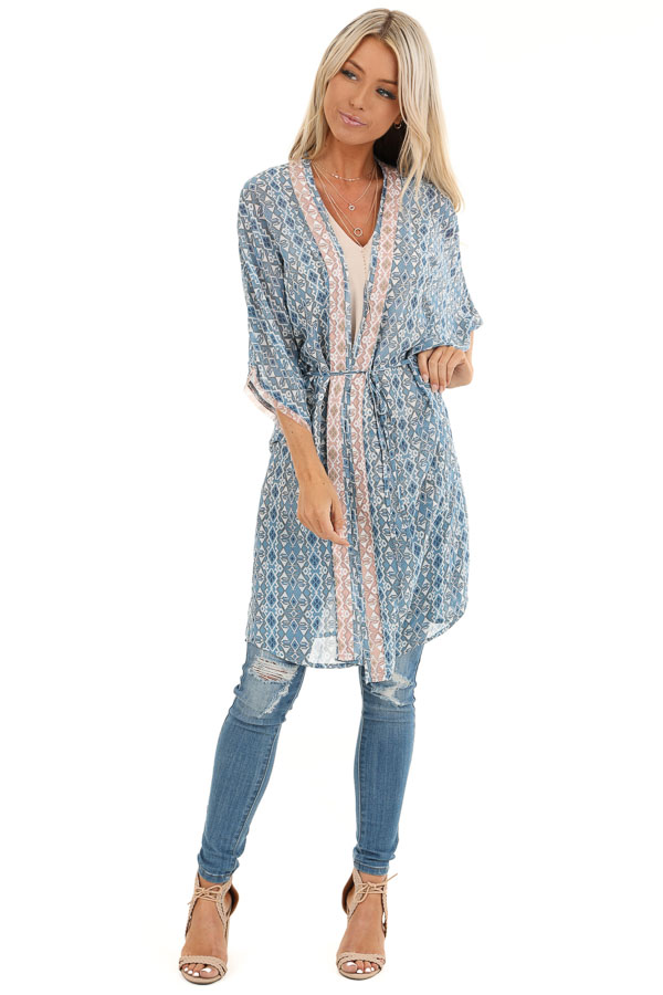 Dusty Blue and Antique Salmon Dolman Sleeve Kimono with Tie front full body