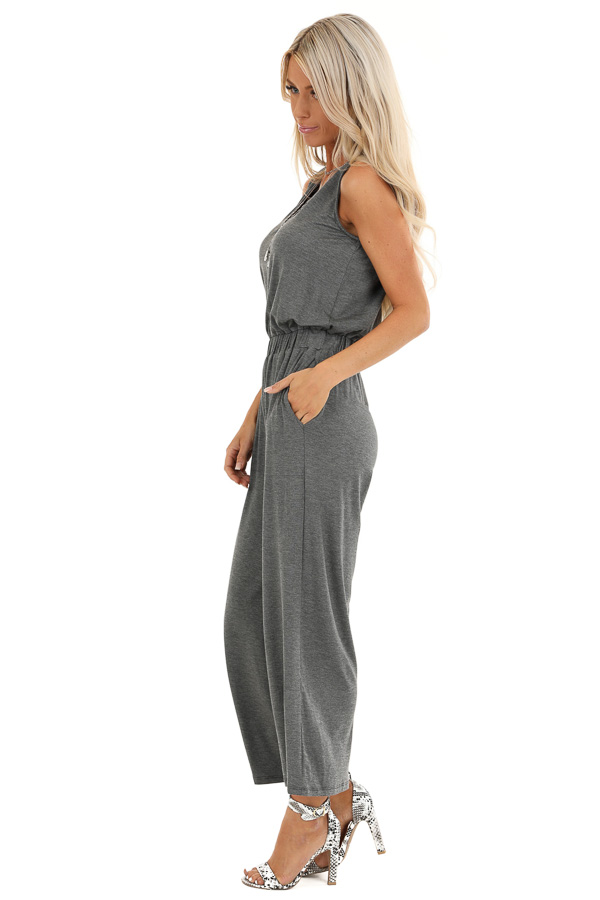 Heathered Charcoal Sleeveless Cropped Jumpsuit with Pockets side full body
