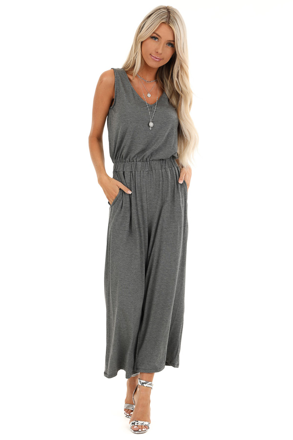 Heathered Charcoal Sleeveless Cropped Jumpsuit with Pockets front full body
