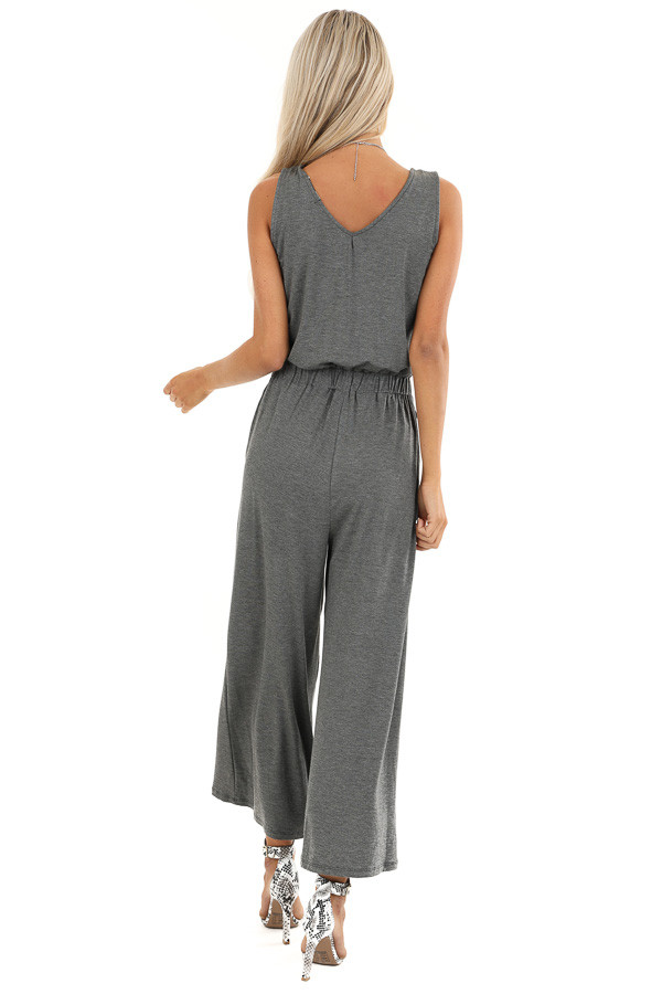 Heathered Charcoal Sleeveless Cropped Jumpsuit with Pockets back full body