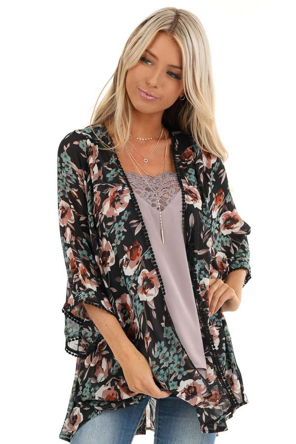 Obsidian Semi Sheer Floral Print Kimono with Crochet Trim front close up