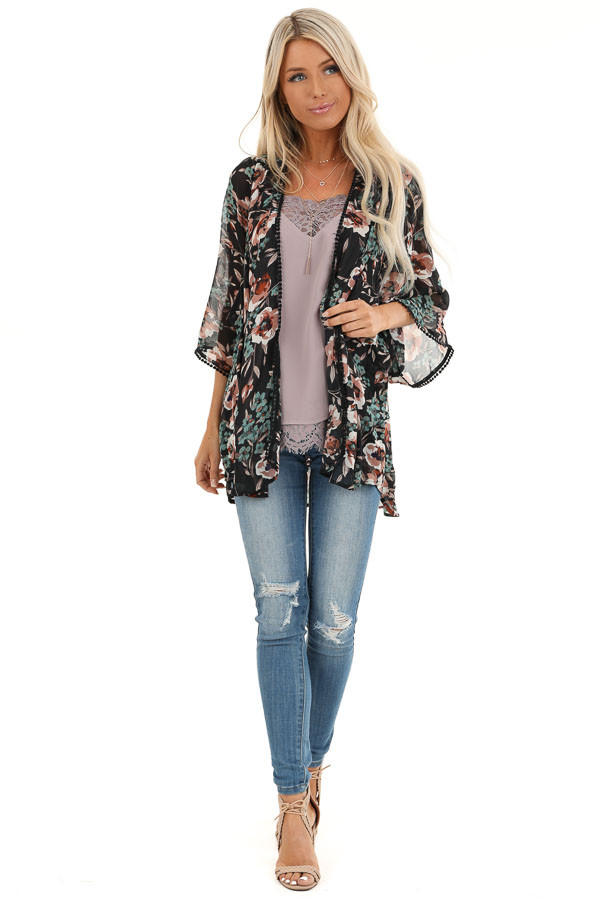 Obsidian Semi Sheer Floral Print Kimono with Crochet Trim front full body