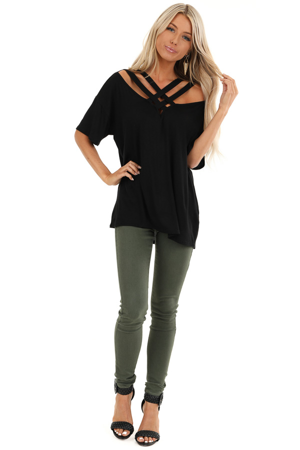 Black Cold Shoulder Top with Criss Cross Caged Neckline front full body