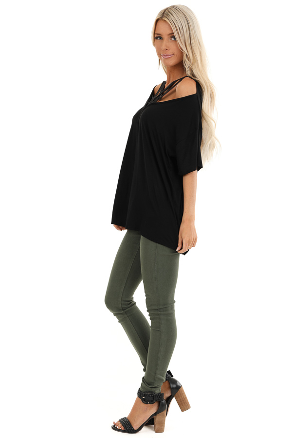 Black Cold Shoulder Top with Criss Cross Caged Neckline side full body
