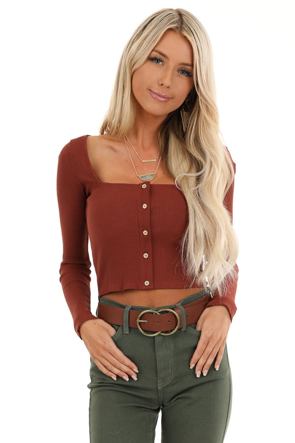 Rust Long Sleeve Crop Top with Front Button Details front close up