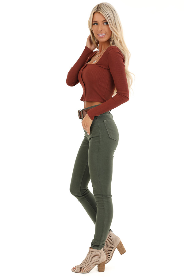 Rust Long Sleeve Crop Top with Front Button Details side full body
