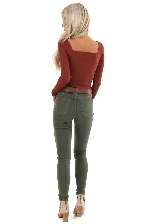 Rust Long Sleeve Crop Top with Front Button Details back full body