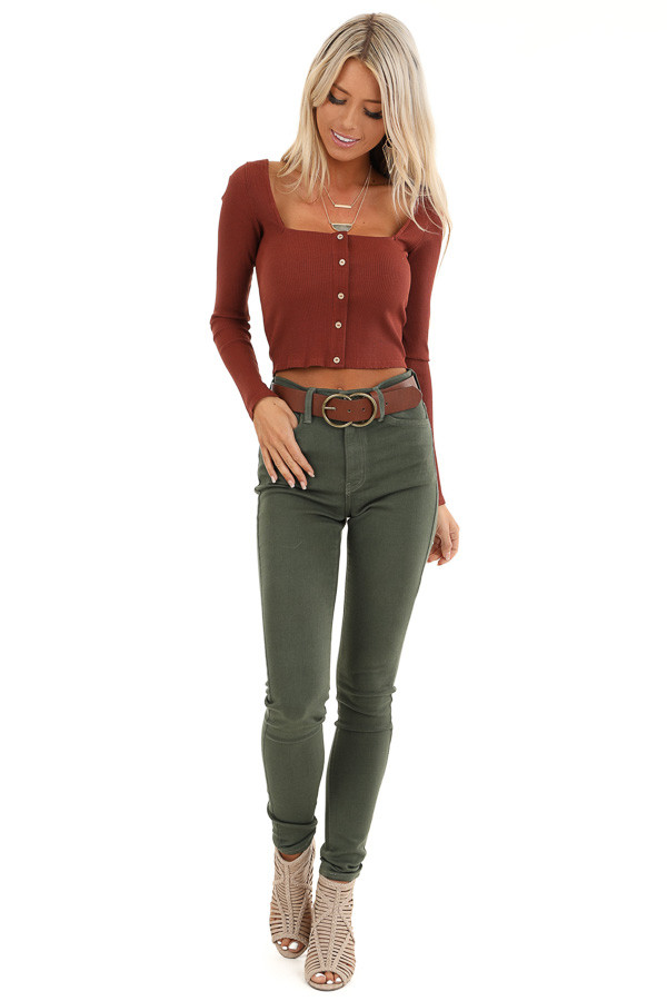 Rust Long Sleeve Crop Top with Front Button Details front full body