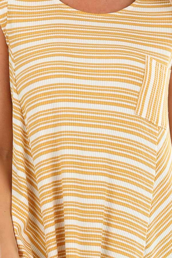 Mustard Striped Ribbed Knit Dress with Handkerchief Hemline detail
