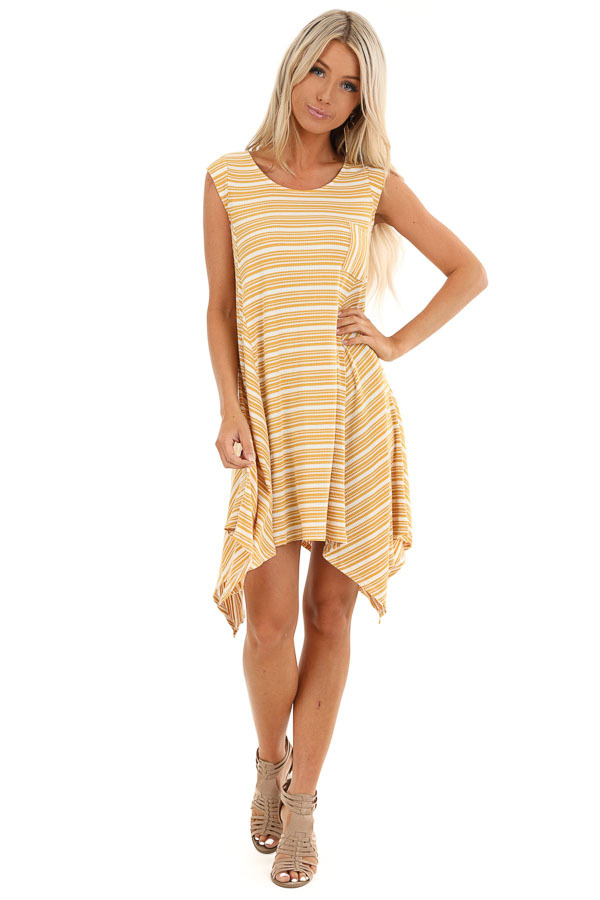 Mustard Striped Ribbed Knit Dress with Handkerchief Hemline front full body