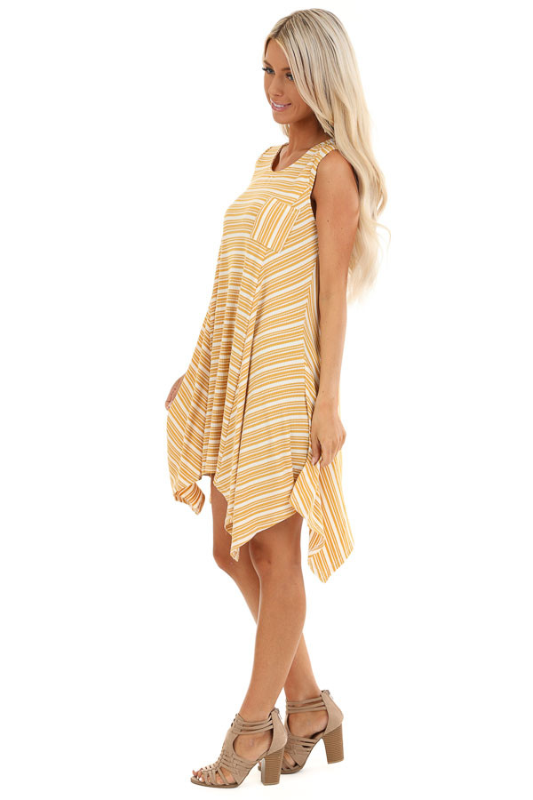 Mustard Striped Ribbed Knit Dress with Handkerchief Hemline side full body