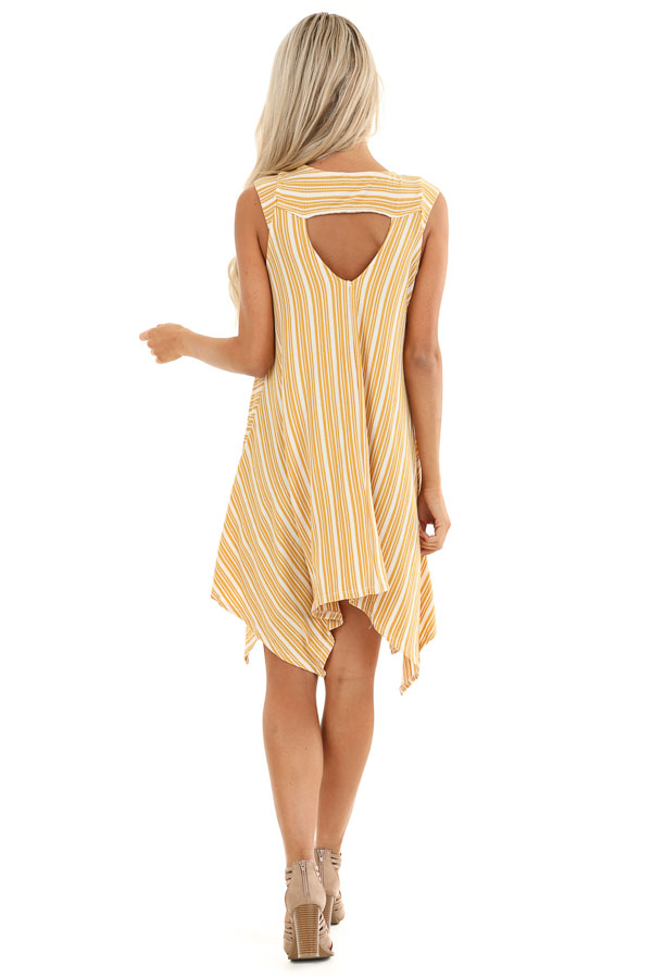 Mustard Striped Ribbed Knit Dress with Handkerchief Hemline back full body
