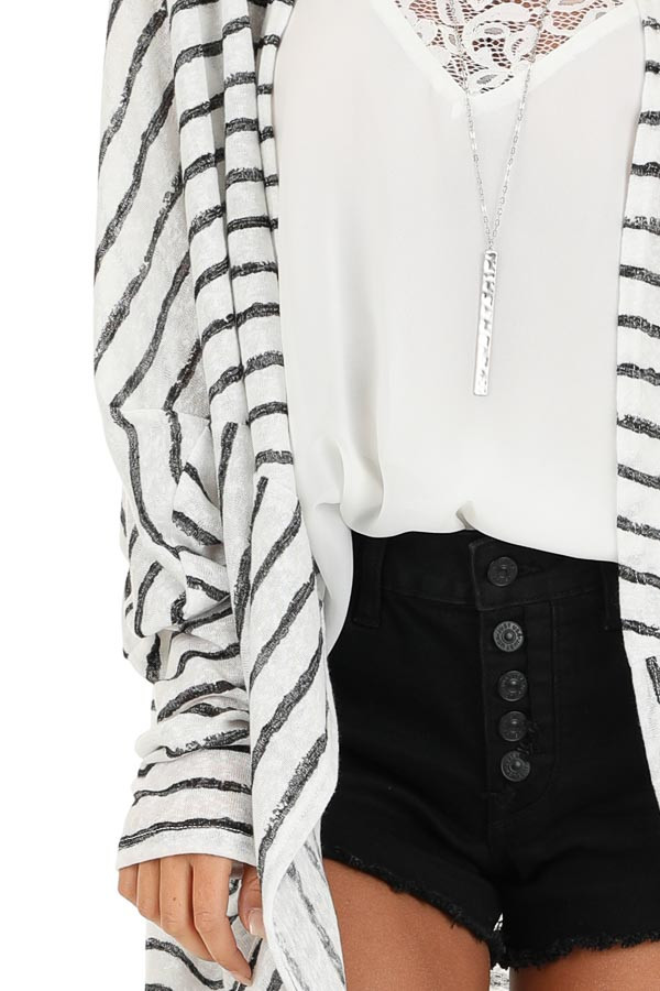 Coconut White and Charcoal Striped Dolman Sleeve Cardigan detail