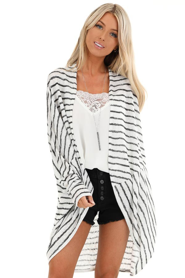 Coconut White and Charcoal Striped Dolman Sleeve Cardigan front close up