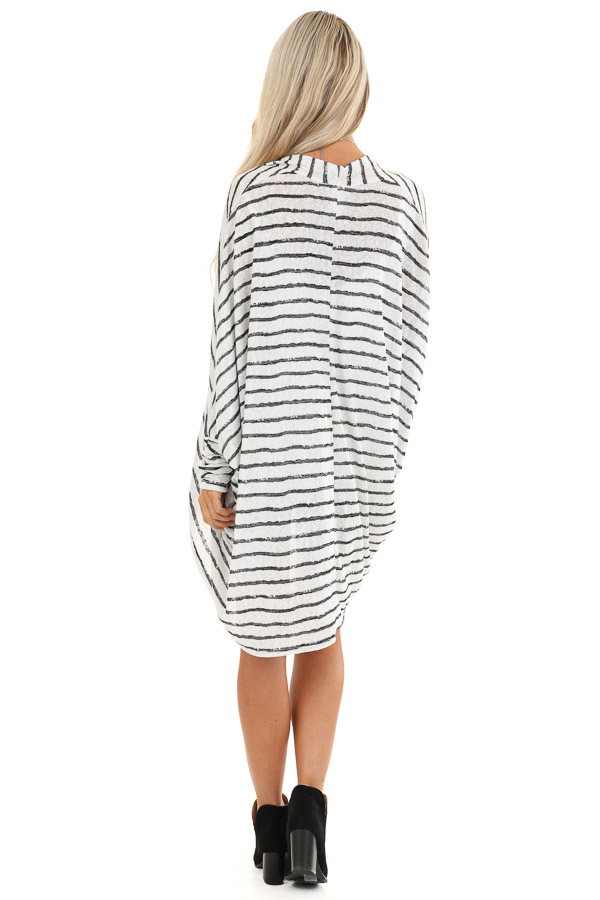 Coconut White and Charcoal Striped Dolman Sleeve Cardigan back full body