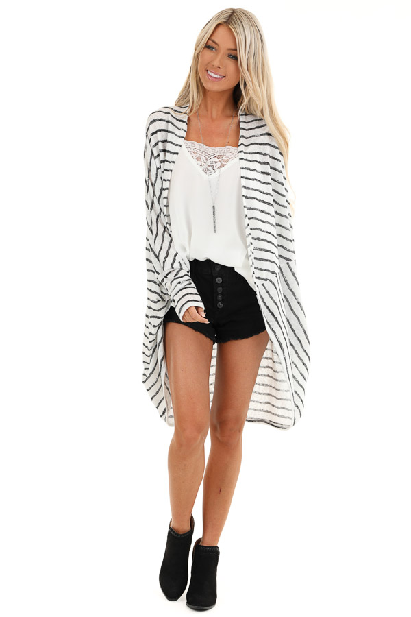 Coconut White and Charcoal Striped Dolman Sleeve Cardigan front full body