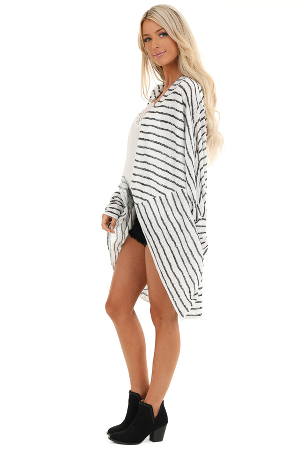 Coconut White and Charcoal Striped Dolman Sleeve Cardigan side full body