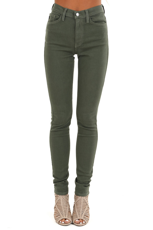 Army Green 5 Pocket Mid Rise Stretchy Skinny Jeans front view