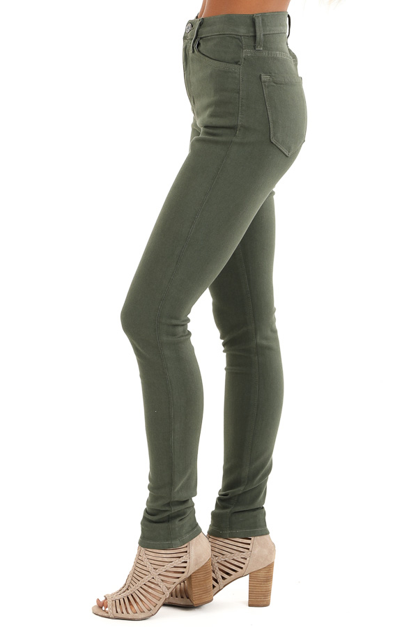 Army Green 5 Pocket Mid Rise Stretchy Skinny Jeans side view