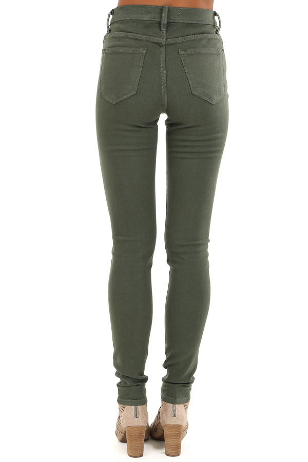 Army Green 5 Pocket Mid Rise Stretchy Skinny Jeans back view