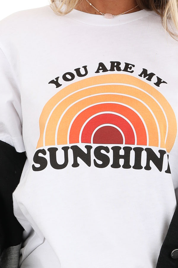 Coconut White and Lemon 'You Are My Sunshine' Graphic Tee detail