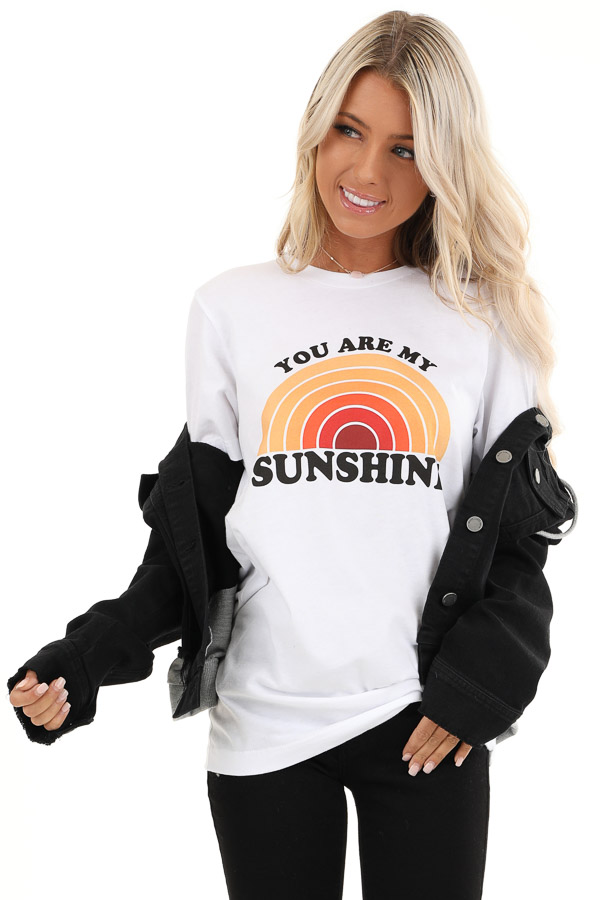 Coconut White and Lemon 'You Are My Sunshine' Graphic Tee front close up