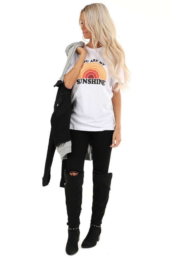 Coconut White and Lemon 'You Are My Sunshine' Graphic Tee front full body