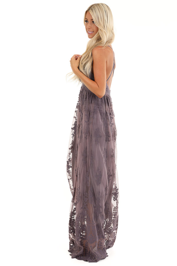 Dusty Lilac Floral Lace Backless Spaghetti Strap Maxi Dress side full body