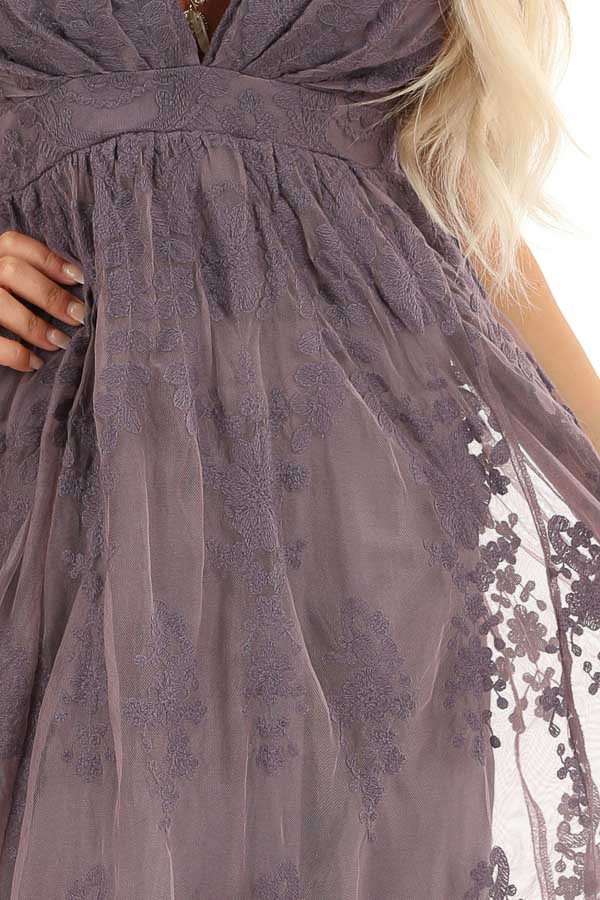 Dusty Lilac Floral Lace Backless Spaghetti Strap Maxi Dress detail
