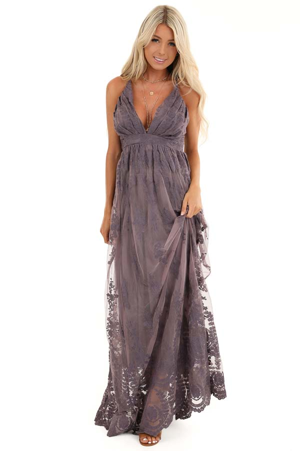 Dusty Lilac Floral Lace Backless Spaghetti Strap Maxi Dress front full body