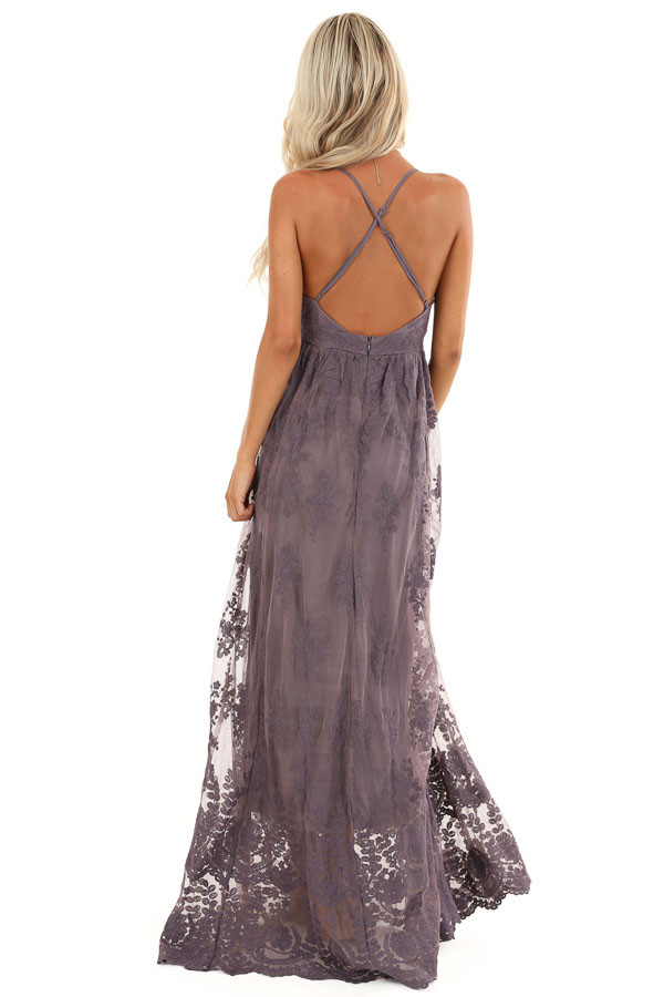 Dusty Lilac Floral Lace Backless Spaghetti Strap Maxi Dress back full body
