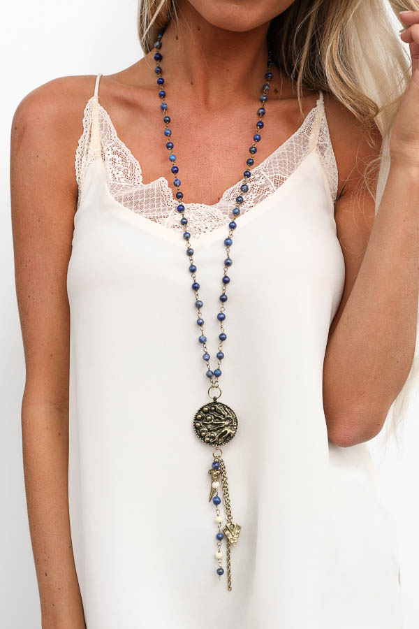 Marbled Blue Beaded Long Necklace with Triple Pendant Detail