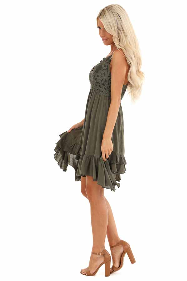 Dark Olive Strappy Sleeveless Mini Dress with Sheer Waist side full body